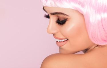 Pink bob short hairstyle woman.