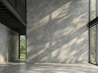 Loft space empty room with nature view 3d render,There are polished concrete floor and wall,black steel structure,There are large windows look out to see the nature,sunlight shining into the room.