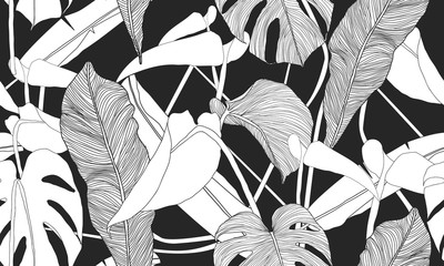 Vector tropical seamless pattern. Exotic plants on black background. Abstract floral seamless pattern. Textile print.