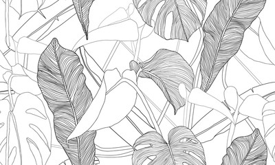Vector tropical seamless pattern. Exotic plants isolated on white background. Hand drawn textile print.