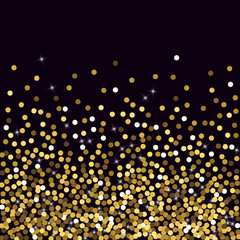 Golden confetti. Round gold glitter. Gradient Scattering on a black background. Glitter. Christmas shiny background.