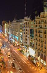 Gran Via street, at night, Madrid, Spain