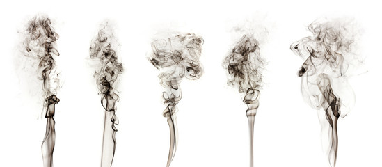 Black smoke collection isolated on  white background.