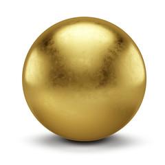 Golden Sphere isolated on white background - 3d Illustration