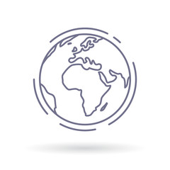 Globe icon. Earth sign. World symbol. Simple thin line icon on white background. Vector illustration.