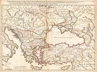 1715, De L'Isle Map of the Eastern Roman Empire under Constantine, Asia Minor, Black Sea, Balkans
