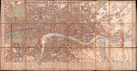1849, Cruchley Pocket Map of London, England