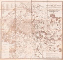 1852, Andriveau Goujon Map of Paris and Environs, France