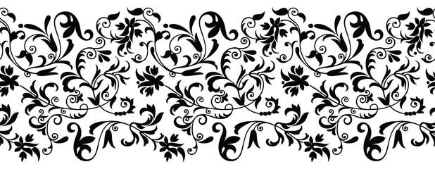 Seamless black and white vintage floral border
