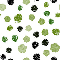 Dark Green vector seamless doodle background with flowers, leaves.