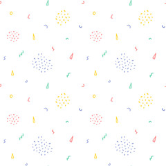 Hand drawn cute confetti abstract seamless pattern. Rustic, boho simple colorful background. Cartoon illustration