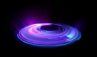 Puste podium. Klub disco. Widok promieni. Pokaż magiczną imprezę. Punktowe światło przeciwmgielne. . Scena sprawdzania połysku. Jasna przestrzeń. Stań dookoła. Żywa scena. Tło spirala Whirlpool. Platforma wystawiennicza. Jasna taśma odblaskowa.