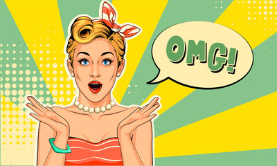 Beautiful pin up girl with excited expressions vector illustration in pop art style