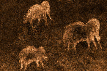 image of ancient mammoths on the cave wall. archaeology. ancient history.