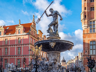 Gdansk, Poland, old town, statue of Neptune fountain, symbol of city Gdansk