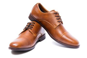 Brown buty odizolowywający na białym tle