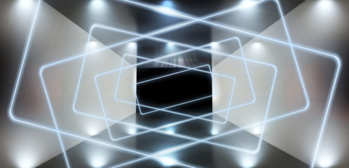 The background is an empty tunnel, the room is lit by neon light. Concrete covering, tile. Smoke. Laser square figure in the center of the room. 3D rendering