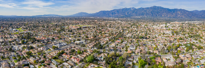 Aerial view of the San Gabriel Mountains and Arcadia area