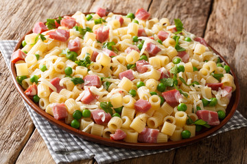 Portion of Ditalini pasta with green peas, ham and cheese closeup on a plate. horizontal