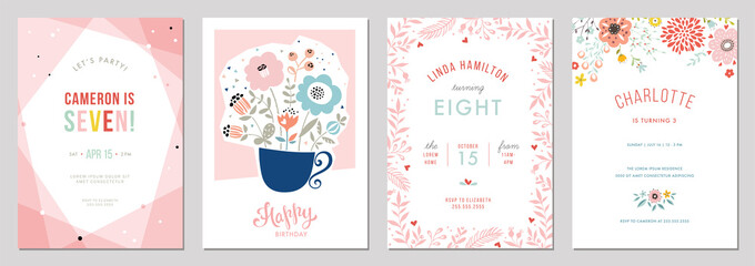 Birthday floral card set. Vector illustration.