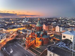 Aerial view of Uspenski Cathedral, Helsinki Finland