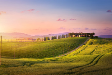 beautiful sunset in Tuscany; Italy landscape