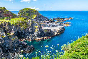 Beautiful view of the beach in Santa Cruz das Flores Village - Flores Island - Azores Portugal