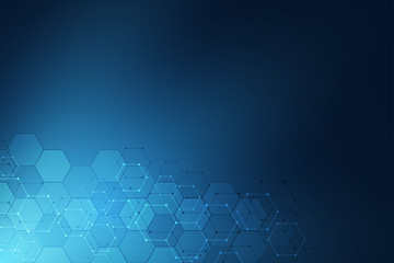 Technology abstract background. Geometric texture with molecular structures and chemical engineering. Abstract background of hexagons pattern.