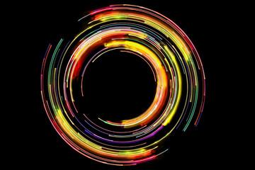 Kolorowe światła led długi obrót zdjęcia. Abstrakcjonistyczny neonowy okrąg wykłada z pustym kopii przestrzeni inside odizolowywającym na czarnym tle.