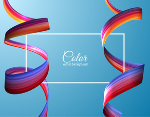 3d colorful paint brush stroke ribbon spiral. Vector background.