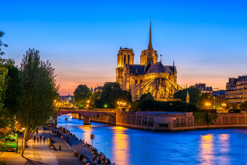 Night view of Cathedral Notre Dame de Paris, island Cite and river Seine in Paris, France
