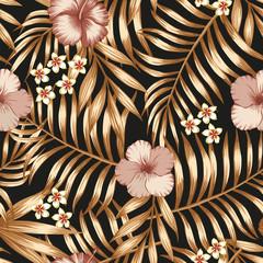Hibiscus frangipani gold palm leaves seamless black background