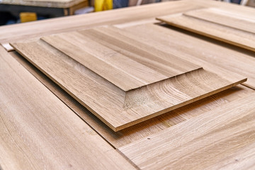 Wood door manufacturing process. Door leaf. Furniture manufacture.