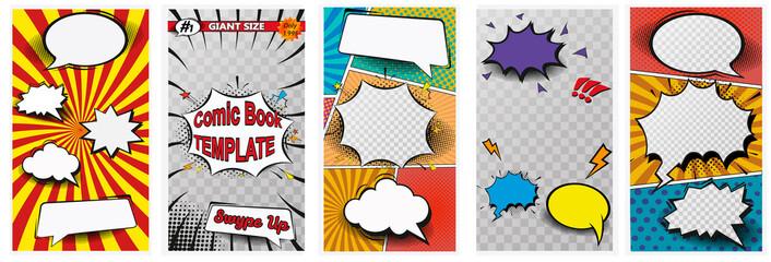 Kolorowa kompozycja strony komiksu z efektami promieniowymi w kropki. Ilustracji wektorowych