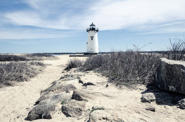 Edgartown Lighthouse, on Martha's Vineyard in Massachusetts - wide angle view.