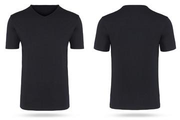 T-Shirt freigestellt schwarz hollow man v-ausschnitt