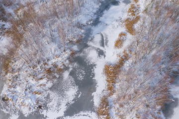 Aerial view of the winter snow covered forest and frozen lake from above captured with a drone.