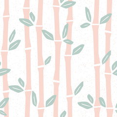 Seamless pattern with bamboo in cartoon style. Vector illustration in pastel color. Cute baby background, stamp texture.