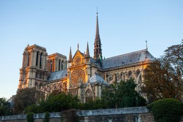 Notre Dame cathedral on Ile de la Cite in Paris, France