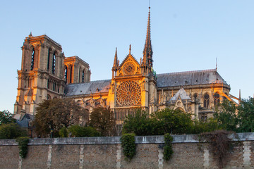 Notre Dame cathedral on Ile de la Cite in Paris, France