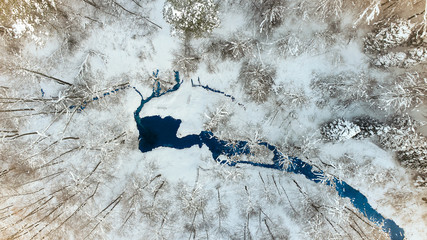 Aerial view. Winter forest and small river..