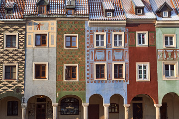facades of historic houses on the Old Market Square in Poznan.