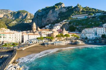 emerald sea and beach on Amalfi coast in Italy