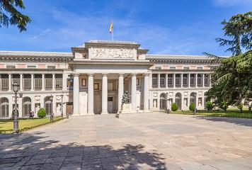 Madrid, Spain. Prado Museum Building and Velasquez Statue