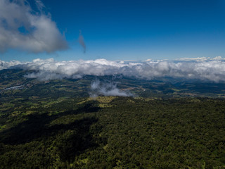 Beautiful aerial view of the Barva Volcano in Costa Rica