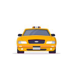 Front view of yellow taxi car with sign. Flat style vector illustration. Vehicle and transport banner. Classic american taxi car from New York. Transportation banner.