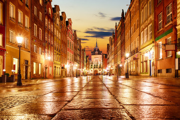 Long Market evening view with bright lights, Gdansk, Poland