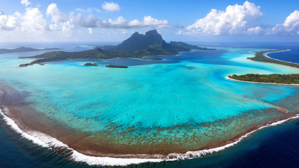 Aerial View of Bora Bora Island and Lagoon