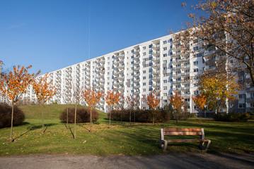 Postmodern buildings of a housing estate.