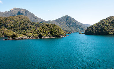 Sea entry into Dusky Sound in Fiordland National Park in the South Island of New Zealand